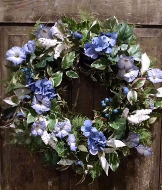 Blue Hydrangea and Petunia Wreath